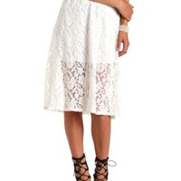 High-Waisted Lace Full Midi Skirt by Charlotte Russe - Ivory