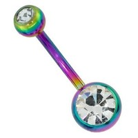 Double Sparkle Rainbow Sparkle Anodized Stainless Steel Belly Ring