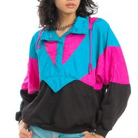 Vintage 80's Blocked Breaker Sweatshirt - One Size Fits Many