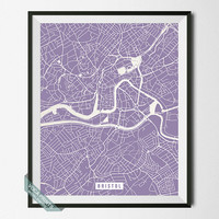 Bristol Print, England Poster, Bristol Street Map, England Map Print, United Kingdom, UK, Home Wall Art, Office Decor, Back To School