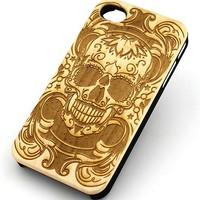 W143 GENUINE WOOD Organic Snap On Case Cover for APPLE IPHONE 4/4S,5/5S,5C - MANIAC SUGAR SKULL