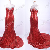 Mermaid Strapless Sequined Long Red Prom Dresses, Sequined Red Evening Gown, Wedding party Dresses, Formal Gown