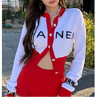 Autumn and winter women's new English print casual jacket sweater women