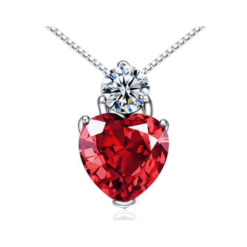 CYW explosion models genuine 925 sterling silver necklaces red crystal pendant female models Valentines Day gifts
