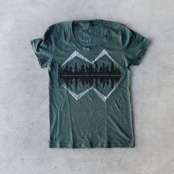 Crater Lake women's tshirt - graphic tee for women - mountain print on forest green - gift for her - camping shirt by Blackbird Tees