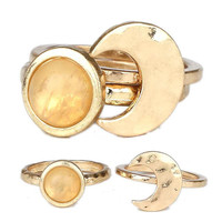 Moon And Stone Stackable Rings