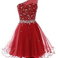 Dresstells® Women's One Shoulder Prom Dresses Homecoming Dress with Beads Dark Red Size 4