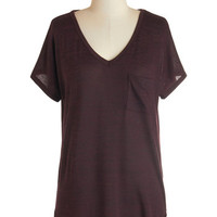 ModCloth Minimal Short Sleeves Dreamy Day Off Top in Wine