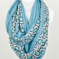Hexagon Print Infinity Scarf (Turquoise) - Piace Boutique