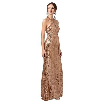 Rose Gold Halter Sequins Long Prom Dress with Keyhole