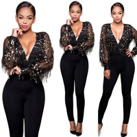 Black Sequined Plunging Jumpsuit