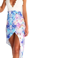 White Lace V-Neckline Bare Back Floral Wrap Dress