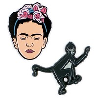 Frida Kahlo and Monkey Colorful Enamel Pins Set of 2