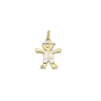 Boy In A Cap Pendant Charm 14Kts of Gold Plated