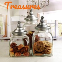 Canister Set 3 Piece Glass Tropical with Silver Pineapple Lid Dry Goods Storage