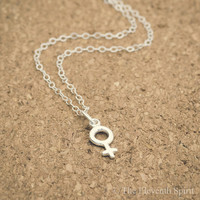 Female Symbol Necklace, Sterling Silver, Feminist Necklace, Venus Symbol Necklace, Feminist Jewelry, Girl Power, Gender Equality, Feminism