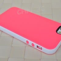 Pink/White Smooth Slim TPU Gel Cover PC Bumper Hybrid Case For IPhone 5 5G