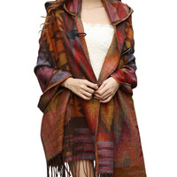 Women's Vintage Hooded Fringed Knitted Sweater Cardigan Cloak Cape Shawl