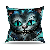 """Mandie Manzano """"Mad Chesire"""" Teal Cat Outdoor Throw Pillow"""