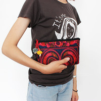 Small Cosmetic Bag Clutch Hmong Embroidered Fabric Top Zip Closure (BG285W-RB)