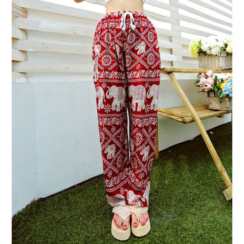 Bohemian Floral Elephant Print Pants, Red Black or Blue