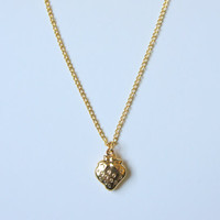 Gold plated  necklace with small cute strawberry by LesleyKim