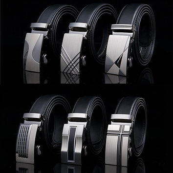 Automatic Buckle Leather Belts - 24 Designs