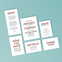 Printable Wedding Invitation Set - Pastel Hand Drawn Typography Invite, RSVP, Details Card - DIY Digital Ready to Print