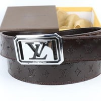 LV  Men and  Woman  Fashion Smooth Buckle Leather Belt