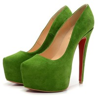 Christian Louboutin Fashion Edgy Nubuck Leather Red Sole Heels Shoes
