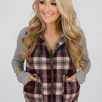 Plaid Pocket Vest- Eggplant & Grey