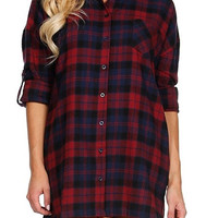 Sippin' On Cider Plaid Flannel Tunic