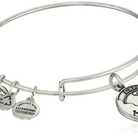 "Alex and Ani ""Places We Love"" Rafaelian Silver Finish Cape Cod Expandable Wire Bangle Bracelet, 7.25"""