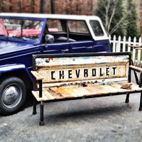 THE ORIGINAL Chevy Blue Collar Tailgate Bench - Vintage tailgates are available from GMC, Chevrolet, Dodge, Jeep, Ford and more