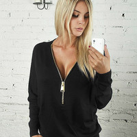 Casual V-Neck Zipper Front Long Sleeve Sweater