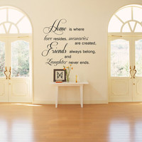 Home is where love resides.. Vinyl Wall Decal