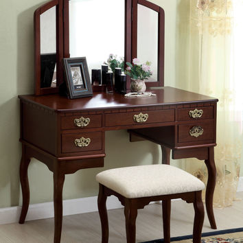 3 pc Ashland Chippendale style cherry finish wood bedroom make up vanity sitting table set with tri fold mirror
