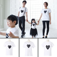 Family Matching Cute Clothes T-shirt Summer Love Mother Daughter Simple Parent-child High Quality Beauty