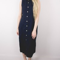 Vintage 90s Denim Button Up Midi Dress