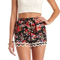 SCALLOPED FRINGE FLORAL PRINT HIGH-WAISTED SHORTS