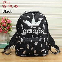 ADIDAS Clover men and women couples tide brand backpack lightweight casual backpack black