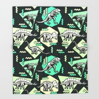90's Dinosaur Skeleton Neon Pattern Throw Blanket by Chobopop