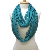 Teal Green Graceful Cut Outs Circle Infinity Ring Loop Scarf