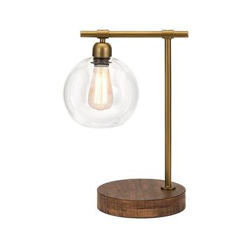 Amplitude Wood and Glass Table Lamp