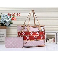 LV Louis Vuitton LV Women Fashion Monogram Print Leather Tote Shoulder Bag Two Piece Set Women