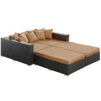 Palisades 4 Piece Outdoor Patio Daybed in Espresso Mocha