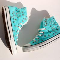 Aqua Blue Converse All Star Sneakers with Star and Rhinestone Studs - Studded Converse Tennis Shoes