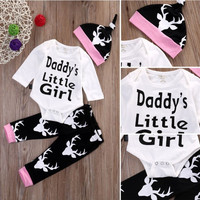 autumn letter Baby Rompers daddy little girl Cotton Baby toddler Infant deer Newborn Clothes Romper+Hat+Pant 3pcs Clothes Set