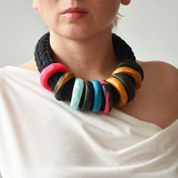 African clothing/Tribal necklace/Funky jewelry/Modern necklace/2015 fashion/OOAK jewelry/Urban fashion/Black necklace/Edgy jewelry/African