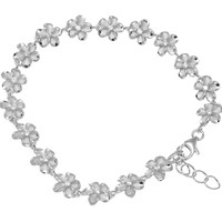 "RHODIUM PLATED 925 STERLING SILVER 8MM HAWAIIAN PLUMERIA FLOWER CZ ANKLET 9.5"" +"